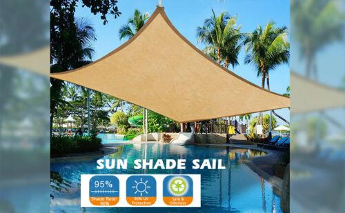 Sun Shade Sail Rectangle Sand, Uv-Block Sun Shade Cloth Patio for Deck Yard Gard