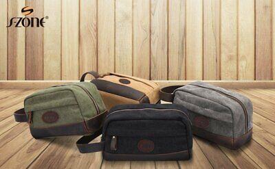 Leather Soft Pda Case - Men's Canvas Leather Travel Toiletry Bag Vintage Shaving Dopp kit Case Organizer