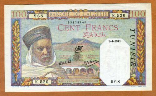 Tunisia, 100 Francs, 1941, P-13, aUNC > 80 years old