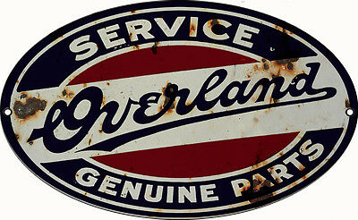 """Reproduction Overland Service Genuine Parts Sign 11"""" X 18"""" Oval"""