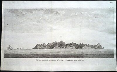Antique map, The east prospect of the island of Juan Fernandes in the South Sea