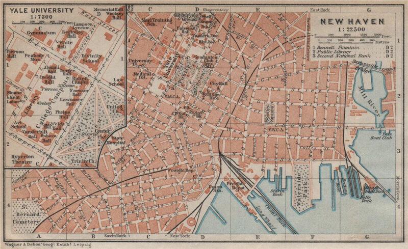 NEW HAVEN antique town city plan. Inset Yale University. Connecticut 1909 map