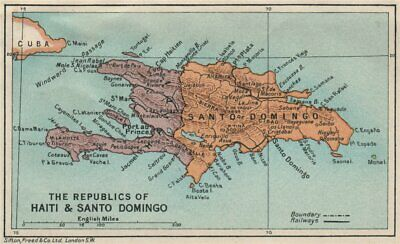 HISPANIOLA. Haiti & Santo Domingo (Dominican Republic) Vintage map 1927