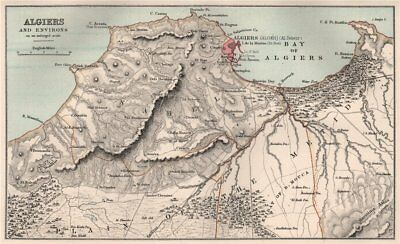 Algiers and environs. Algeria. Plain of the Metidja. BARTHOLOMEW 1886 old map