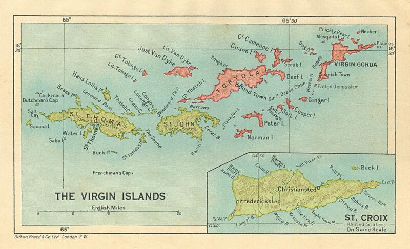 BRITISH/US VIRGIN ISLANDS Tortola Virgin Gorda St Croix St Thomas/John 1935 map