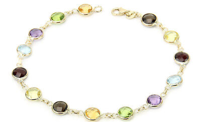 14K Yellow Gold Fancy Cut Round Shaped Gemstones Bracelet 8.5 Inches