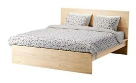 IKEA MALM White stained oak veneer STANDARD DOUBLE HIGH BED FRAME for mattrass 135x190cm