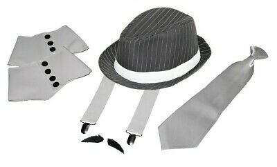 Gangster Set 20er Jahre Mafia Charleston Kostüm 5er Set Hut Hosenträger Krawatte