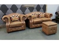 Fantastic Chesterfield Hump Back 2 Seater Sofa & matching Arm Chair Tan Leather - Uk Delivery