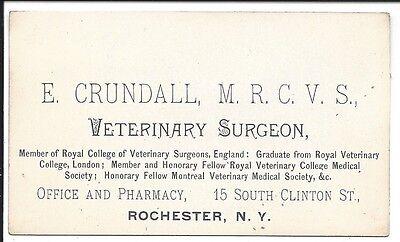 c1890 Business Card of Rochester, NY Veterinary Surgeon, E. Crundall