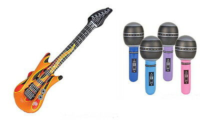 12 INFLATABLE ASSORTED COLOR GUITARS + 12 INFLATABLE MICROPHONES, KARAOKE