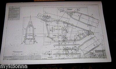 HARLEY DAVIDSON Hard Tail Frame Blueprint Drawing poster print hardtail panhead