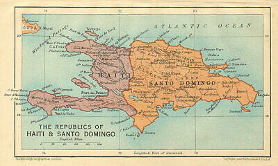 HISPANIOLA. Haiti & Santo Domingo (Dominican Republic) Vintage map 1935