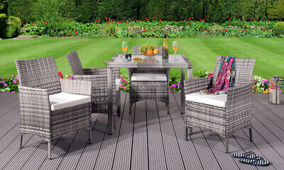 Garden Furniture - 5PC Rattan Dining Set Outdoor Garden Patio Furniture - 4 Chairs & Square Table