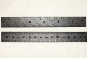 Stainless-steel-6-machinist-ruler-rule-metric-SAE-1-32-1-64th-mm-5mm