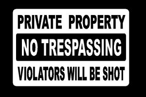 metal sign security private property no trespassing