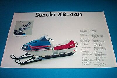 73 SUZUKI XR 440 SNOWMOBILE POSTER  Vintage xr440 sno-machine