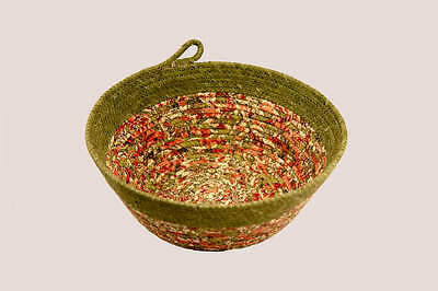 - Coiled Rope Basket, Fabric Bowl, Fiber Art Basket