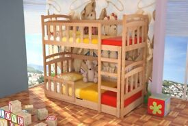 BARGAIN! Kids Bed maciej with mattresses, bunk bed, storage container, pine wood, New