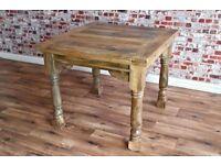 Extending Hardwood Rustic Dining Table Drop Leaf - Folding Ergonomic - Extendable 3ft-6ft