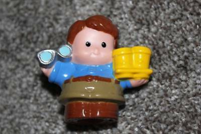 Fisher Price Little People Dad Figure Toy Man Glasses Coffee Cups Brown Hair EUC