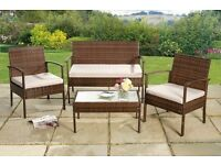 Brand new Conservatory Garden Furniture Rattan Lounge Set 2 chairs Sofa and table BROWN