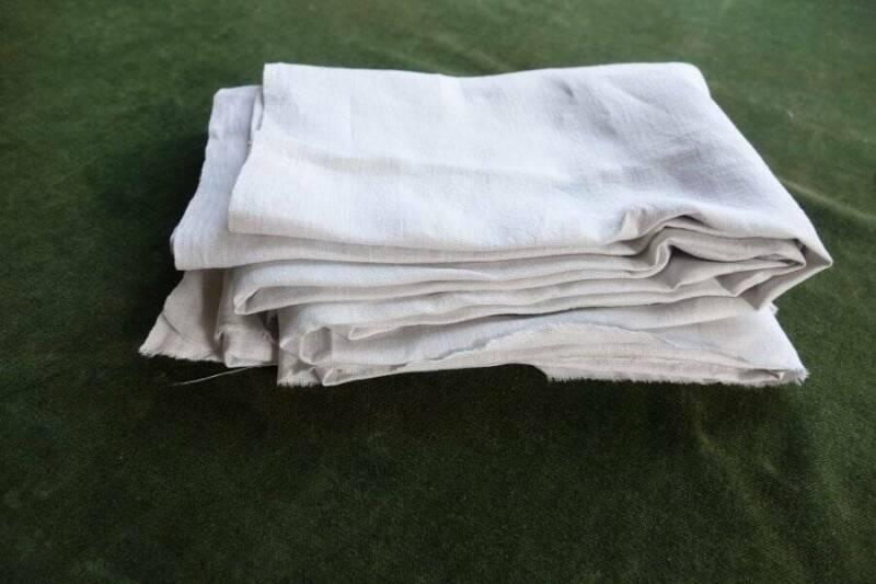 "Antique hand loomed pure Irish linen fabric - white - 30"" x 34"""