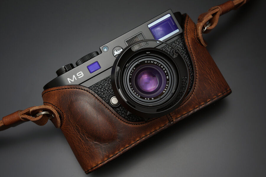 Brown Gariz Black Label Genuine Leather BL-LCM9BR Half Case for Leica M9 M8 Monochrom