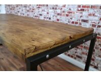 Reclaimed Industrial Rustic Pine Metal Steel Dining Kitchen Table