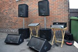 Full Band PA ' 2 x Speakers 2 Bass bins 2x Wedge Monitors 16 Track Desk plus 2x Amplifiers and leads