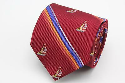 BROOKS BROTHERS Makers & Merchants Woven Silk Tie. Red Stripes w Sailboats.