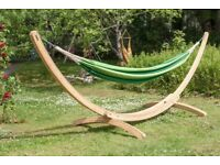 Large Garden Hammock With Wooden Arc Stand, Cream Canvas
