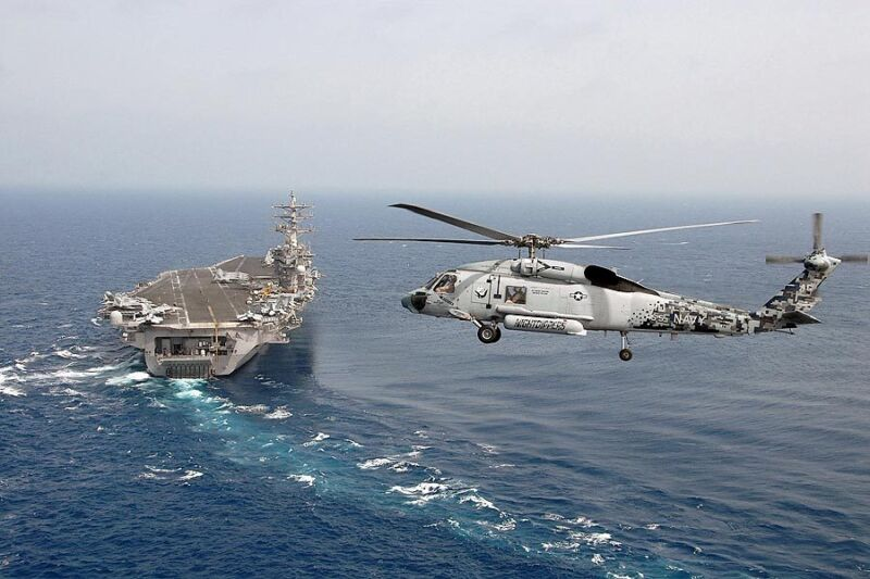 SH-60F HELICOPTER W/ USS DWIGHT D. EISENHOWER 12x18 SILVER HALIDE PHOTO PRINT