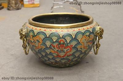 China Royal Pure Bronze cloisonne Four Lion Head Dragon Jar Pot Crock Fish tank