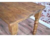 Farmhouse Reclaimed Wood Dining Table Natural Rustic Finish - Many Sizes