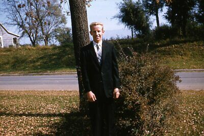 1950s Mens Suits & Sport Coats   50s Suits & Blazers Kodak 35mm Slide 1950s Red Border Kodachrome Man in Suit Posing by Tree $19.99 AT vintagedancer.com