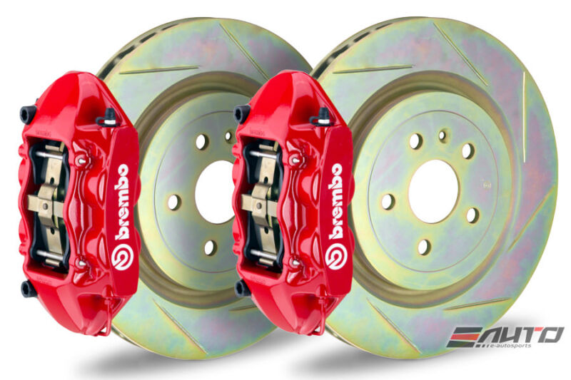 Brembo Front Gt Brake 4piston Red 345x29 Slot Rotor For Vw Golf Gti Mk7 15-17