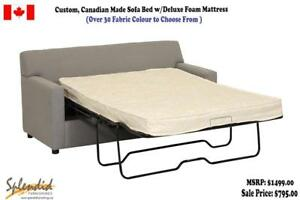 Brand new !! Custom, Canadian Made Sofa Bed w/Deluxe Mattress Starting at $795.00