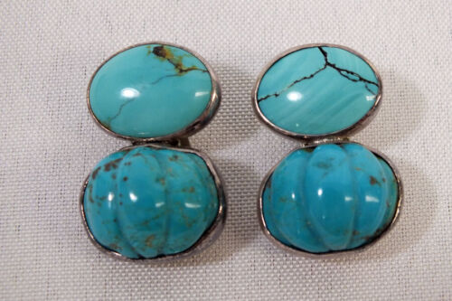 Vintage Rebecca Collins Sterling Silver Turquoise Blue Earrings Dallas Texas
