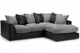 💖Super Comfy Sturdy &Smart💖New Byron Jumbo Cord + Leather Sofa. Avlble in Corner or 3 and 2 Seater
