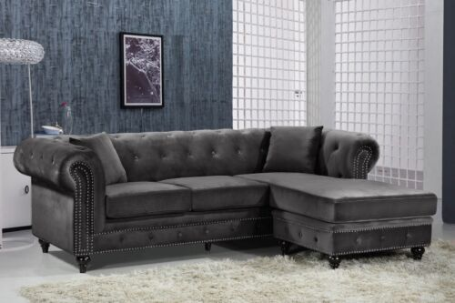Contemporary Style Living Room Furniture Sectional Sofa Tufted Grey Velvet 2pc