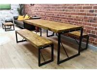 4ft Industrial Reclaimed Rustic Pine Dining Kitchen Table Benches Steel - Delivery Available
