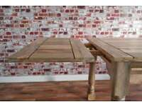 Extending Rustic Farmhouse Dining Kitchen Table Natural - 5.5ft-8.5ft