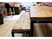 Dining Kitchen Table Benches Steel 4ft Industrial Rustic Reclaimed Pine - Delivery Available