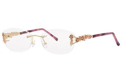 Caviar 4873 C57 Rimless Gold Pink Crystals Eyeglasses Italy 54mm New Authentic (Italia Eyeglasses)