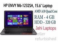 "HP ENVY M6-1232SA, 15.6"" Laptop, AMD A10 Quad Core, 4GB Ram, 320GB Win8-0575"