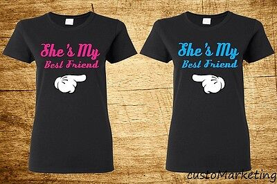 Couple Tee - She's My Best Friend - Cartoon Hands Couple Matching T