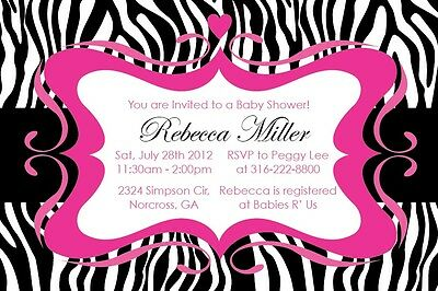 Zebra Print GIRL Elegant Custom Birthday Party Baby shower Digital Invitation (Zebra Print Baby Shower Invitations)