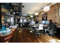Desk space in open plan office