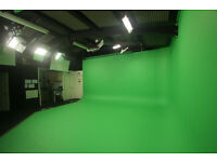 Green screen and soundproof filming studios to rent, fully equipped for 4K with crew available